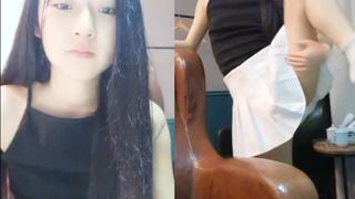 金髮女孩把頭髮染黑了 但柔軟度不減一樣大展一字馬!